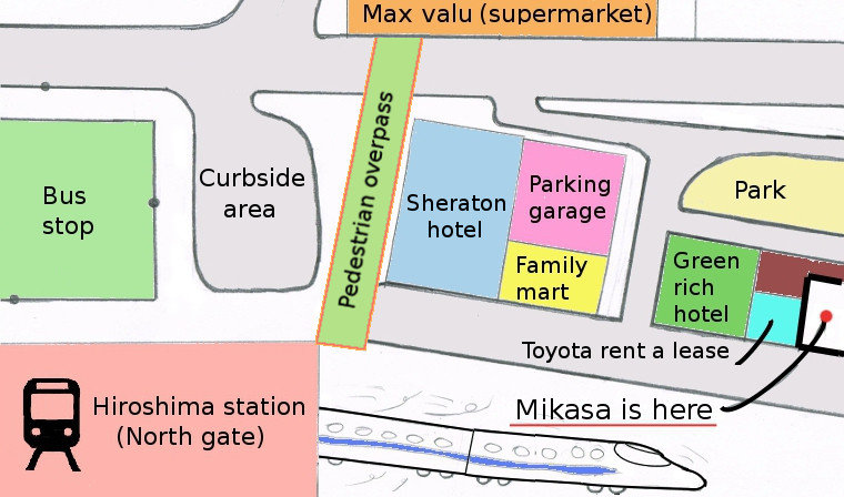 map of the surrounding hiroshima station